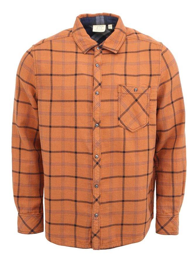Oranžová pánska kockovaná košeľa Jeremiah