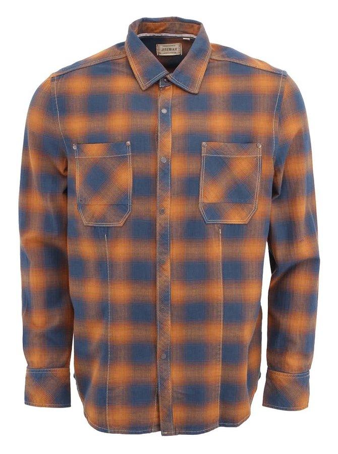 Modro-hnědá pánská kostkovaná košile Jeremiah Eugene