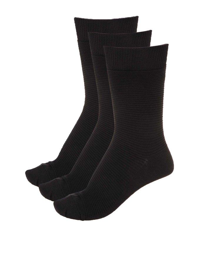 Sada tří černých vroubkovaných ponožek Jack & Jones Fipo