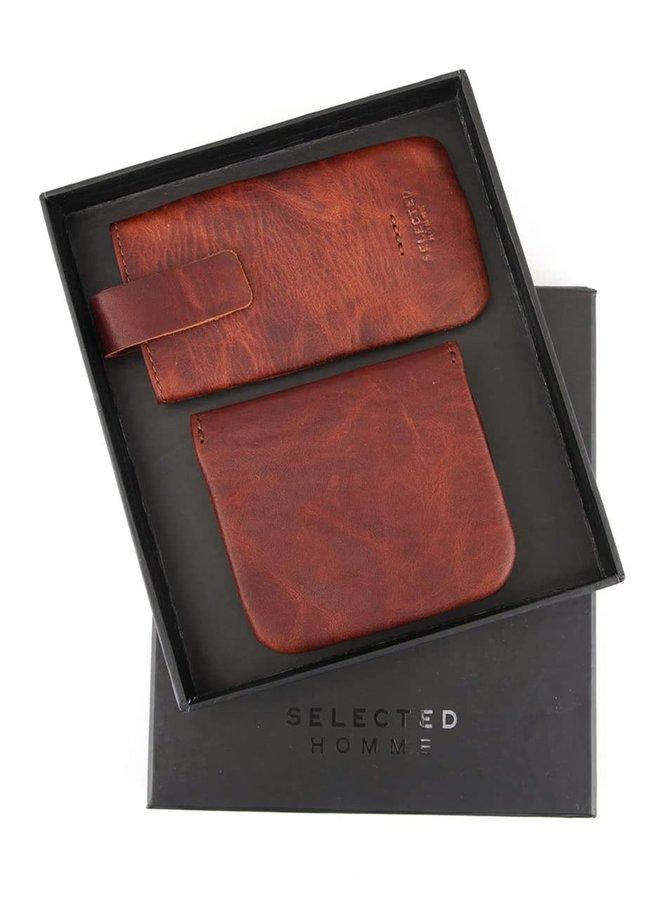 Tmavohnedý kožený obal na mobil a peňaženka Selected Homme Anton