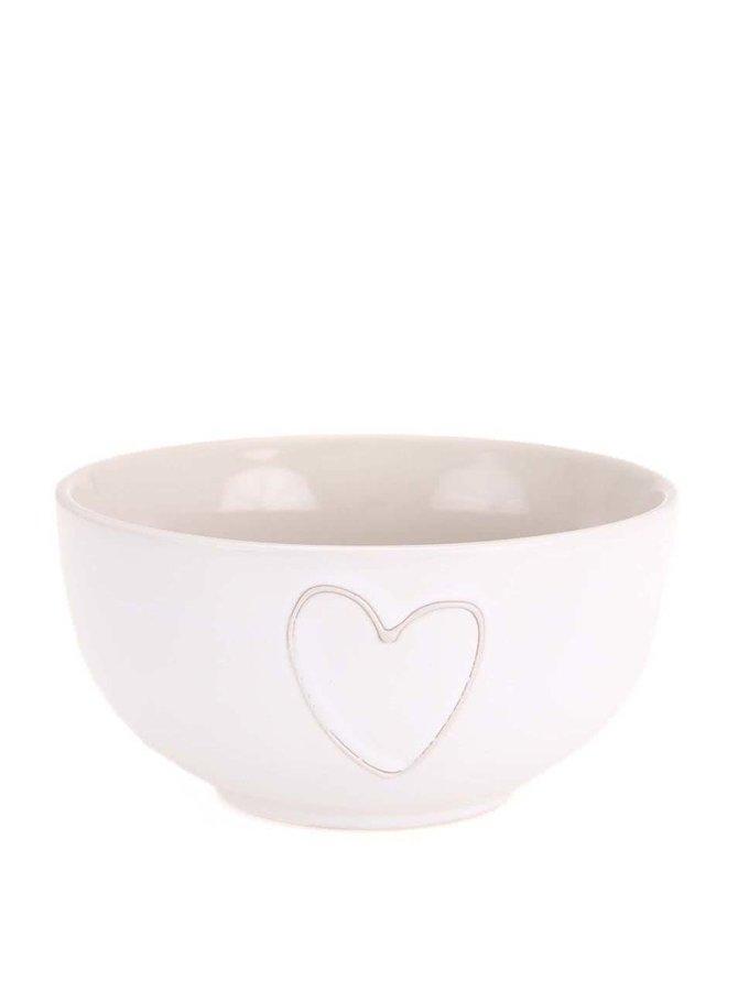 Bol alb din ceramică Dakls cu decorațiune în formă de inimă, realizată manual