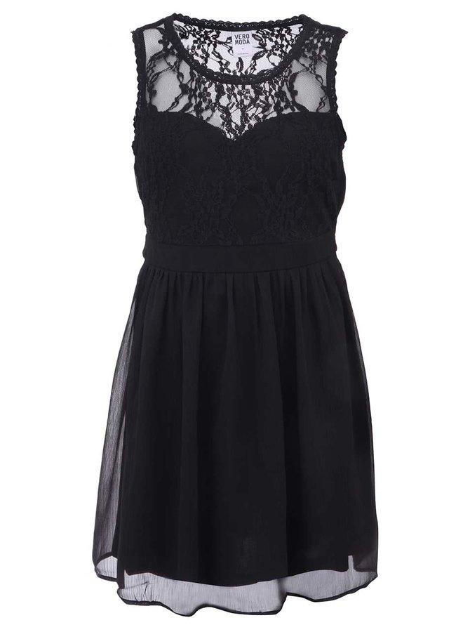 Čierne šaty s krajkou Vero Moda Neja