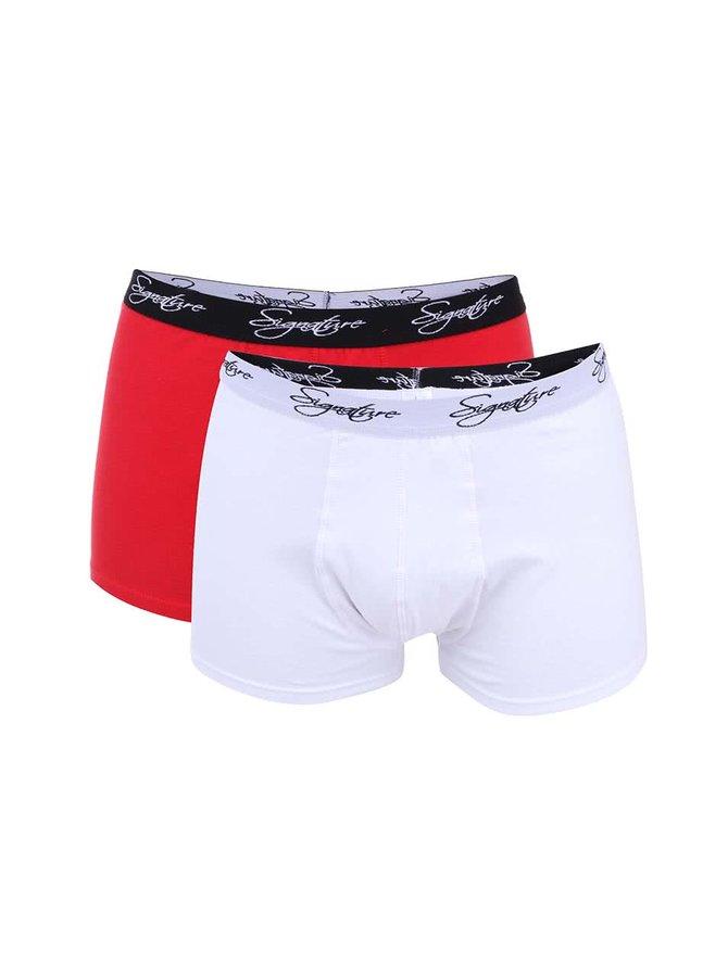 Dvojbalení červených a bílých boxerek Signature