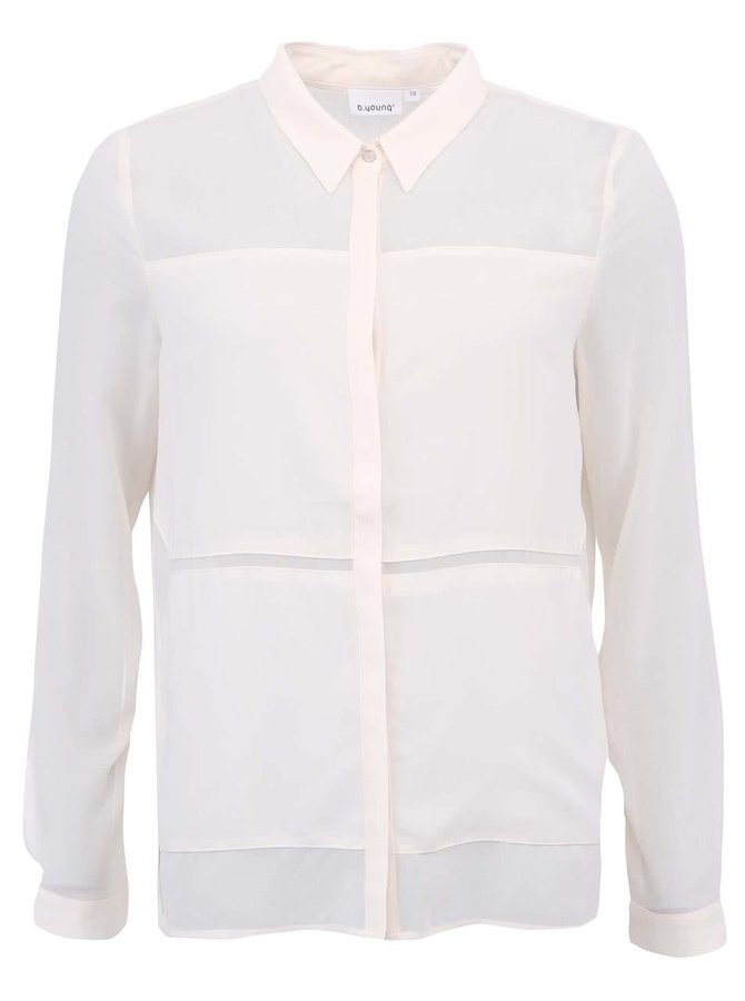 Krémová priesvitná košeľa b.young Hallis