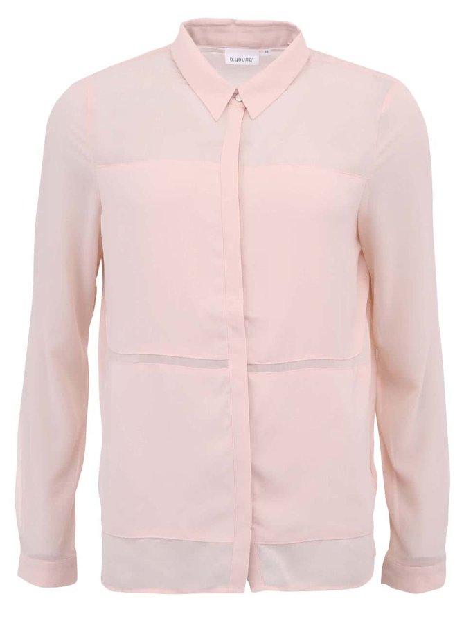 Svetloružová košeľa b.young Hallis