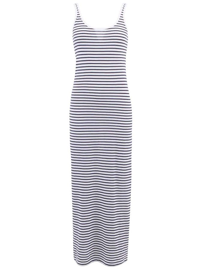 Biele dlhé šaty s modrými pruhmi VERO MODA Nanna
