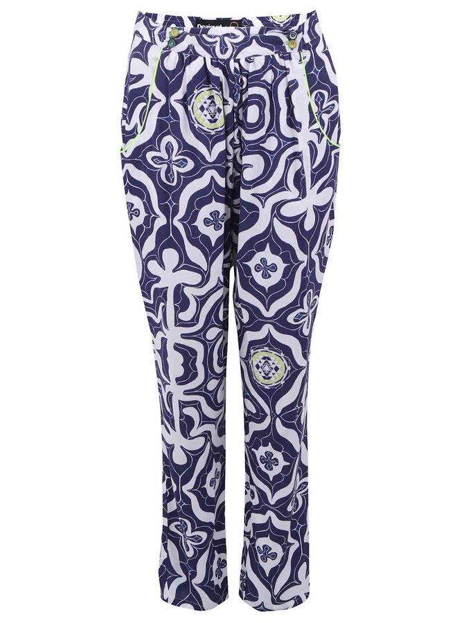 Pantaloni largi alb & albastru Desigual Carmin