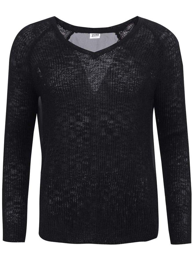 """Čierny sveter s výstrihom do """"V"""" Vero Moda Rozanna"""