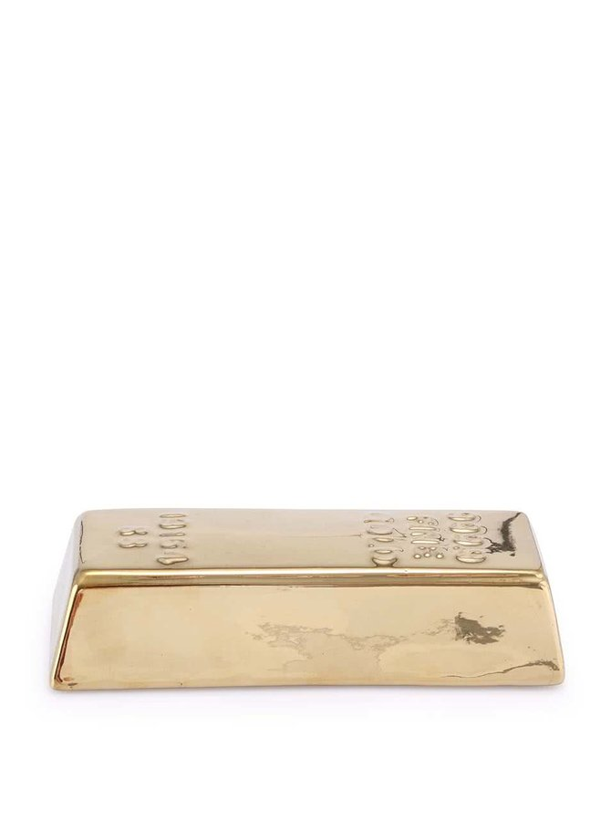 Pokladnička na mince v zlatej farbe v tvare tehly Kikkerland Coin