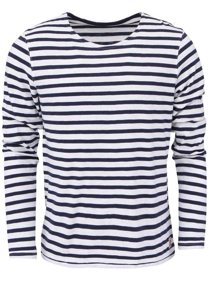 Bílé pruhované triko s dlouhými rukávy Jack & Jones Marco