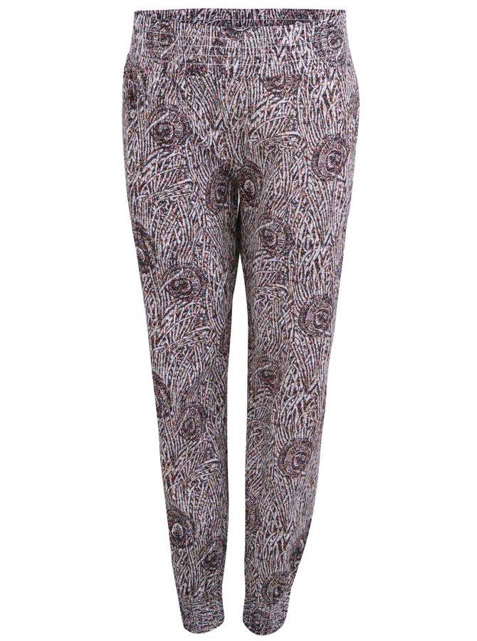 Pantaloni cu imprimeu pentru femei Horsefeathers Nena - maron