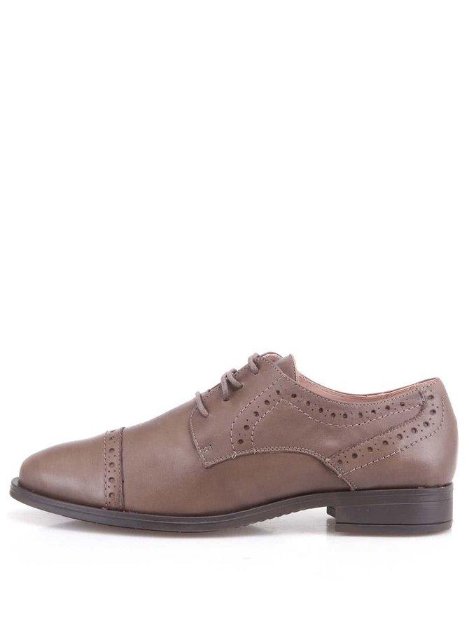 Pantofi din piele maro cu toc jos de la OJJU