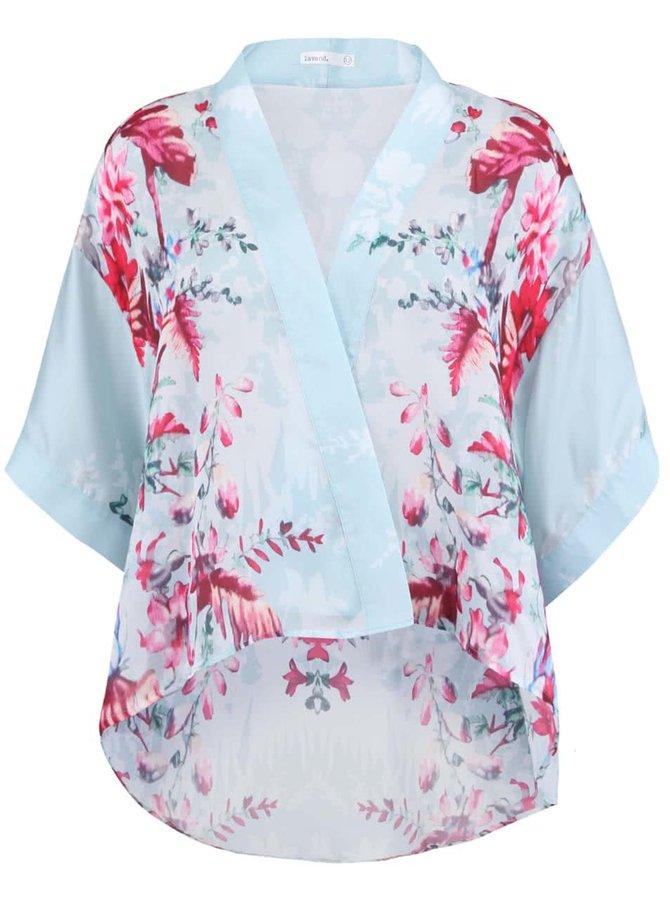 Kimono cu model floral verde deschis și albastru pentru femei Lavand