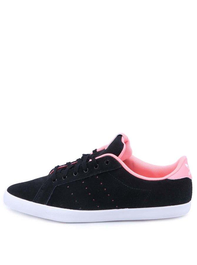 Ružovo-čierne dámske kožené tenisky adidas Originals Miss Stan