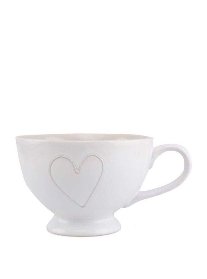 Ceașcă albă din ceramică Dakls cu decorațiune în formă de inimă realizată manual