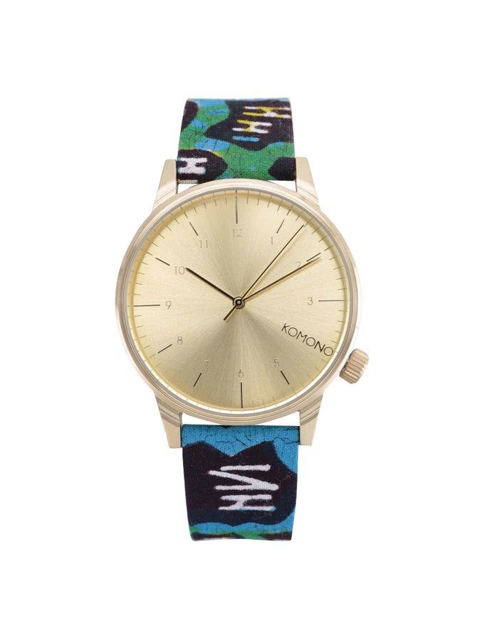Pánské hodinky ve zlaté barvě s textilním páskem Komono Winston Gold