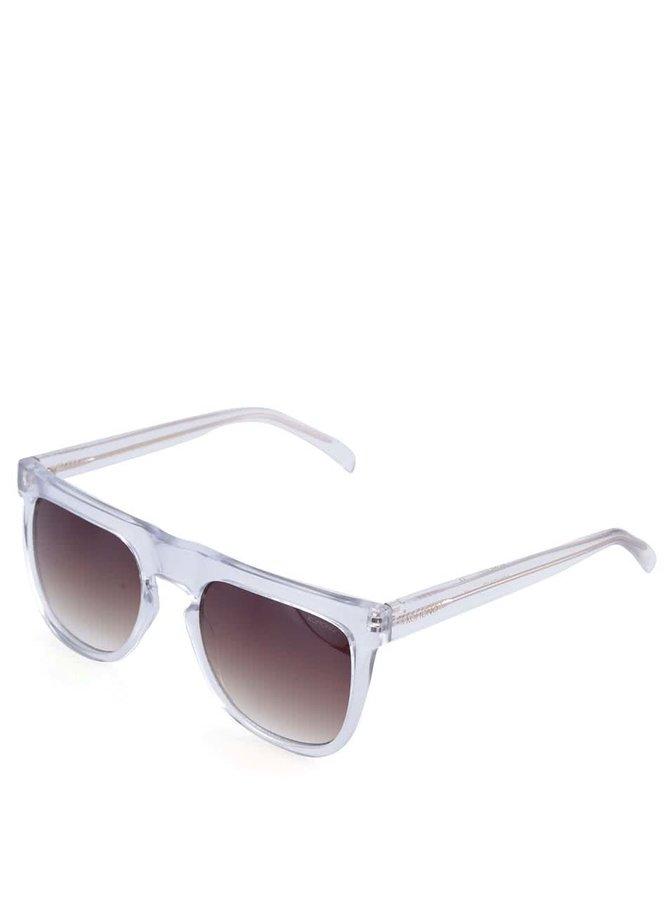 Transparentné hranaté unisex slnečné okuliare Komono Bennet