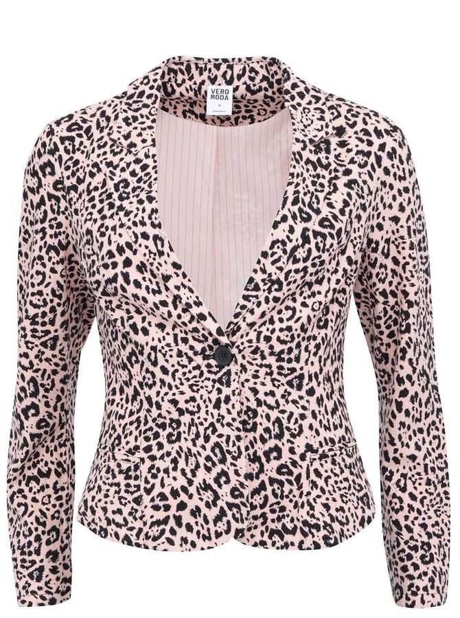 Jachetă roz cu imprimeu leopard VERO MODA Just Alana