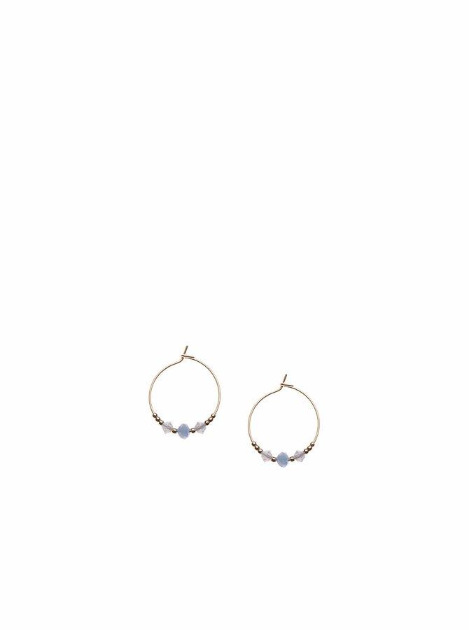 Kruhové náušnice ve zlaté barvě s modrými kamínky Orelia