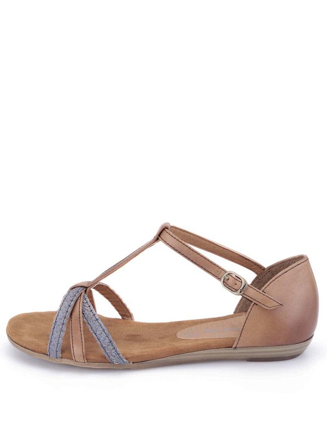 Hnědé kožené páskové sandálky Tamaris