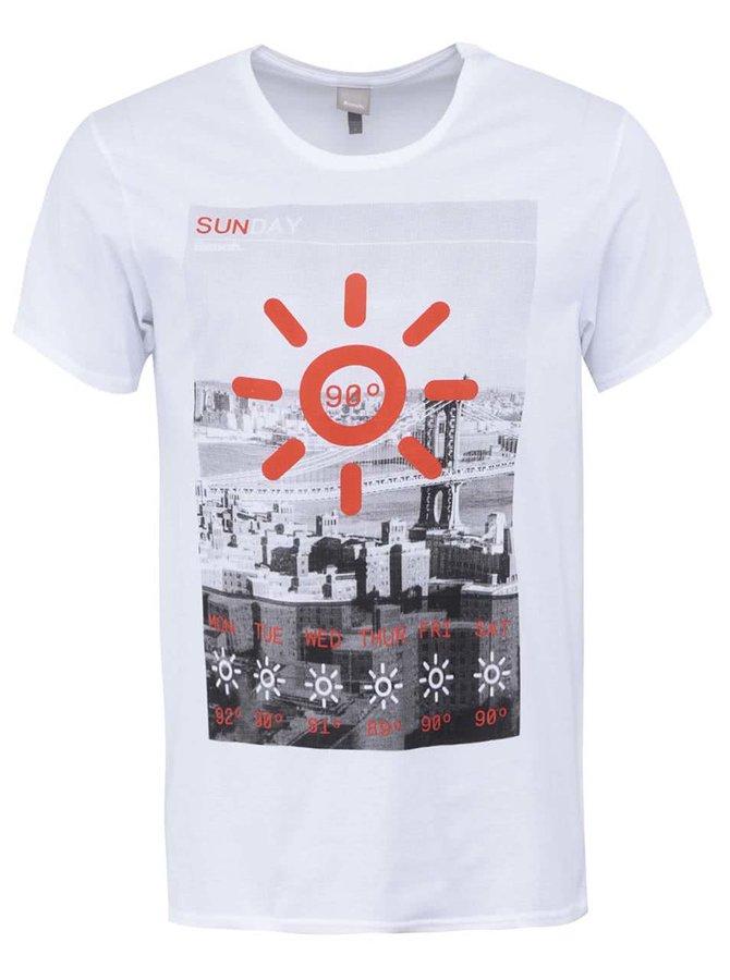 Biele pánske tričko s potlačou Bench City Weather