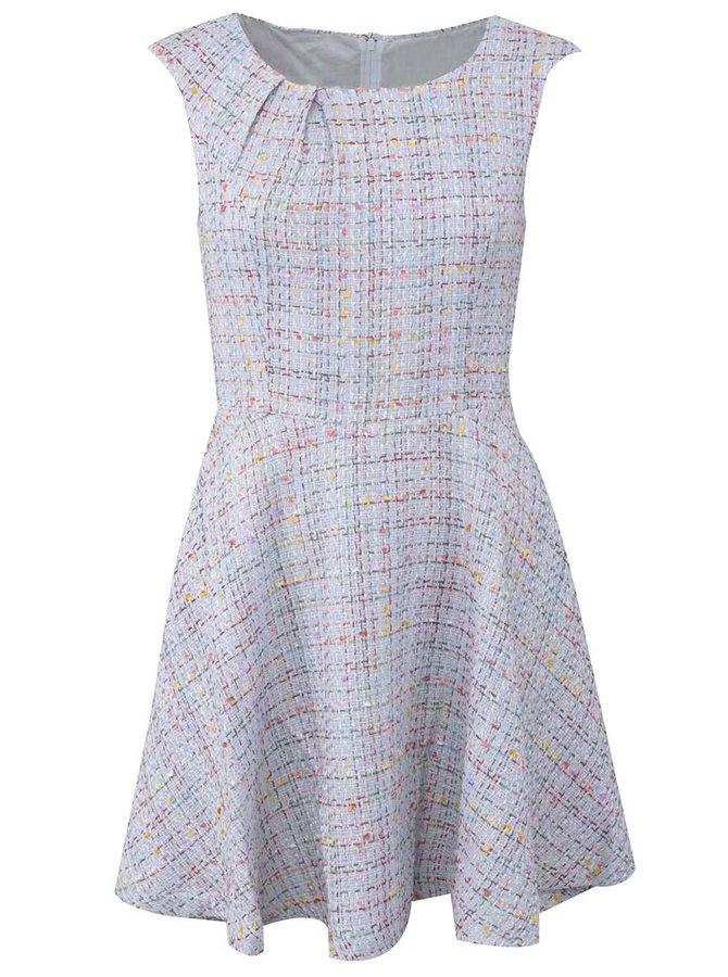Světle modré tvídové šaty Fever London Livorno