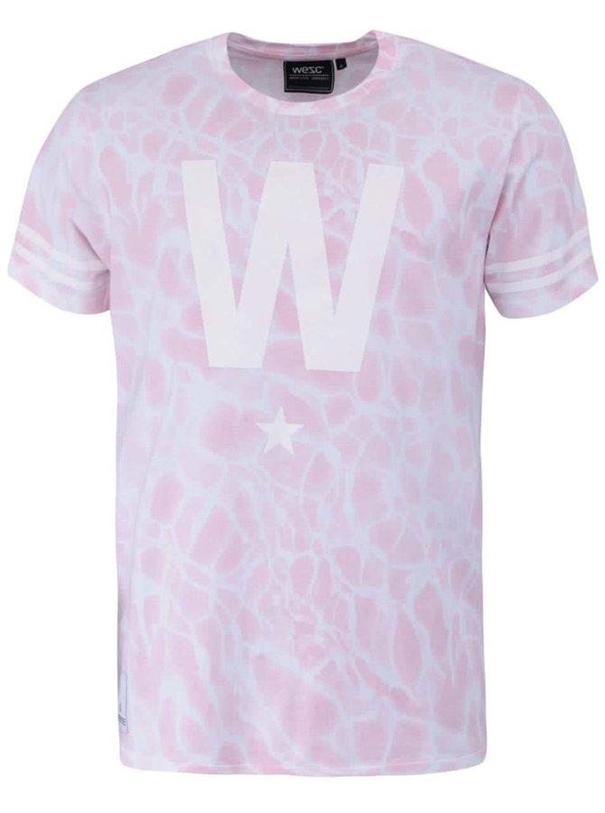 Svetloružové tričko s bielym vzorom WeSC W Star