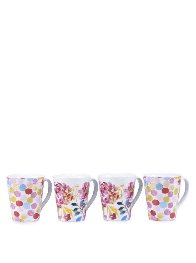 Súprava štyroch porcelánových hrnčekov s motívom kvetín Cooksmart Floral Romance