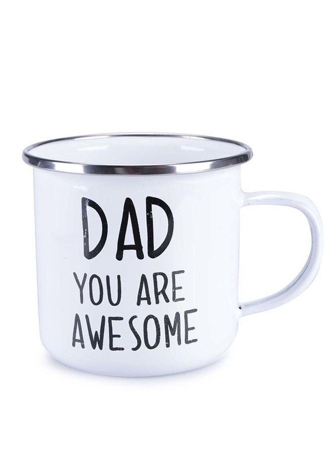 "Cană emailată albă de la Sass&Belle ""Dad You Are Awesome"""