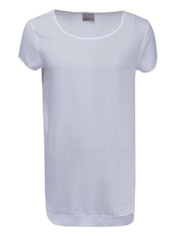 Tricou VERO MODA Boca cu spate mai lung - alb de zăpadă