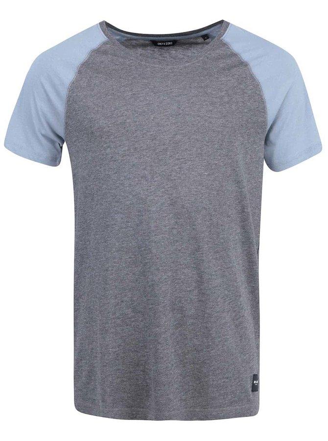 Tricou ONLY & SONS Trisdan albastru cu gri