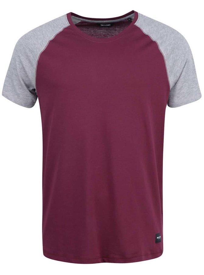 Vínové triko s šedými rukávy ONLY & SONS Trisdan