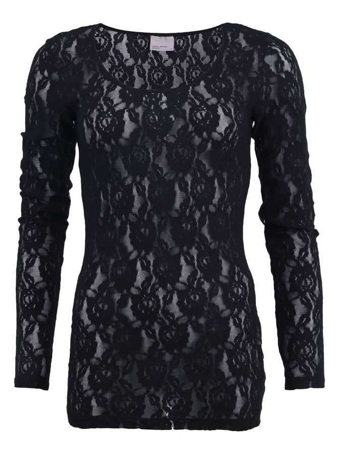 Bluză din dantelă neagră cu mâneci lungi VERO MODA Lilly