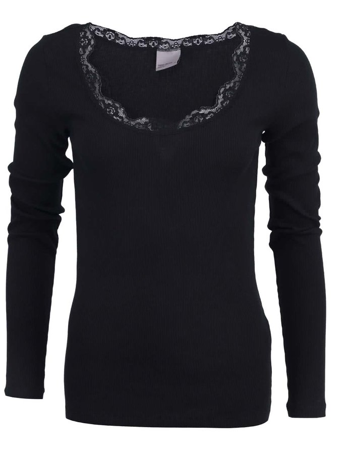 Tricou Vero Moda Lena negru cu guler din dantelă