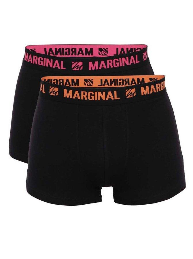 Sada dvoch čiernych boxeriek s oranžovým a ružovým nápisom Margina
