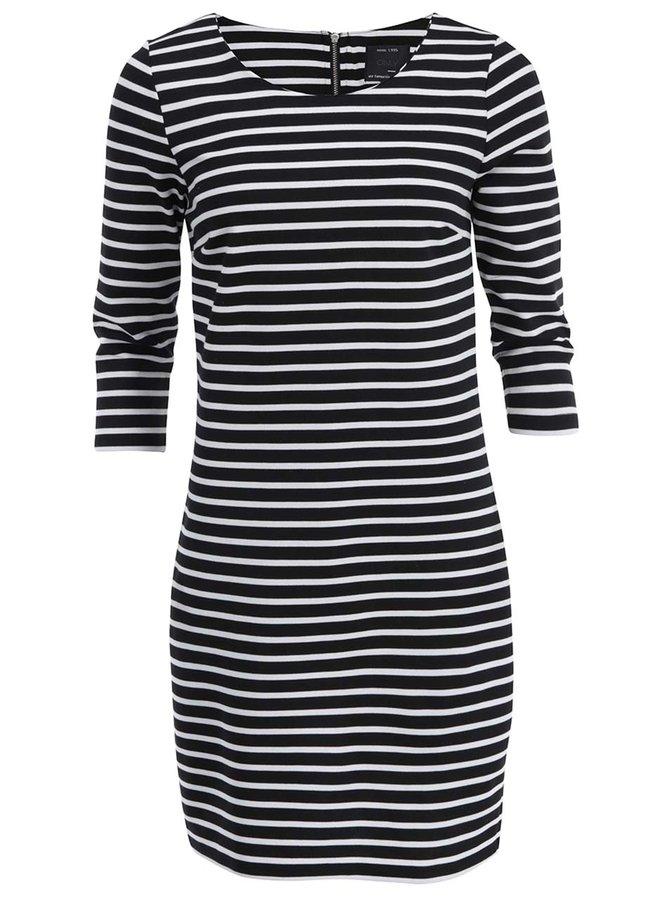 Bieločierne pruhovné šaty s 3/4 rukávmi ONLY Emma