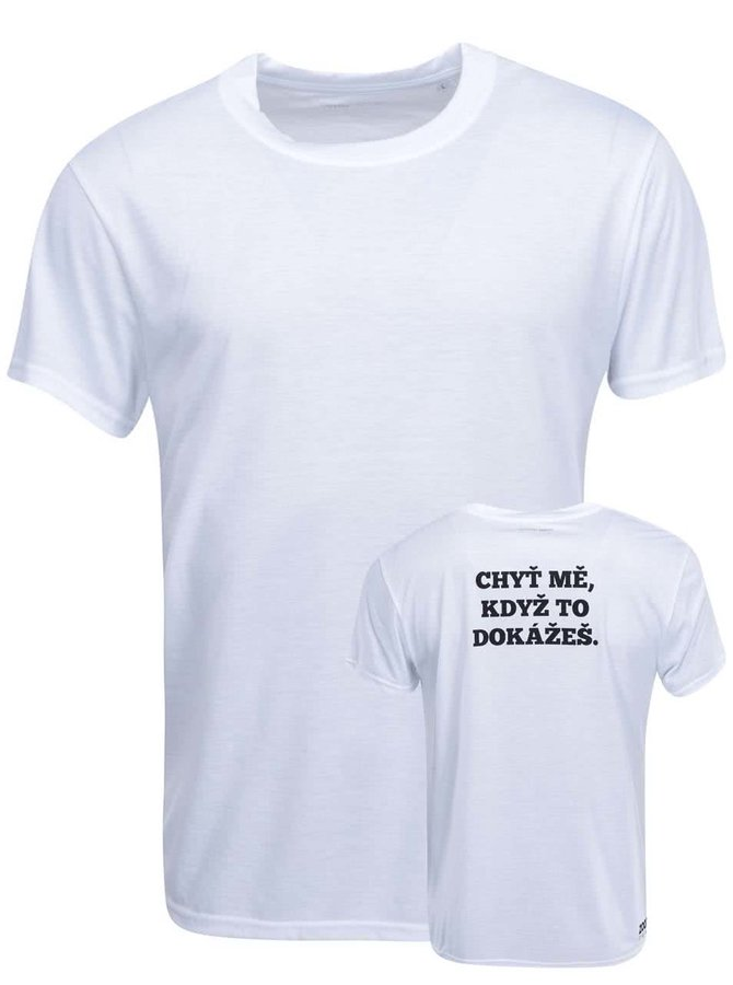 Biele pánske tričko ZOOT Originál Chyť mě, když to dokážeš