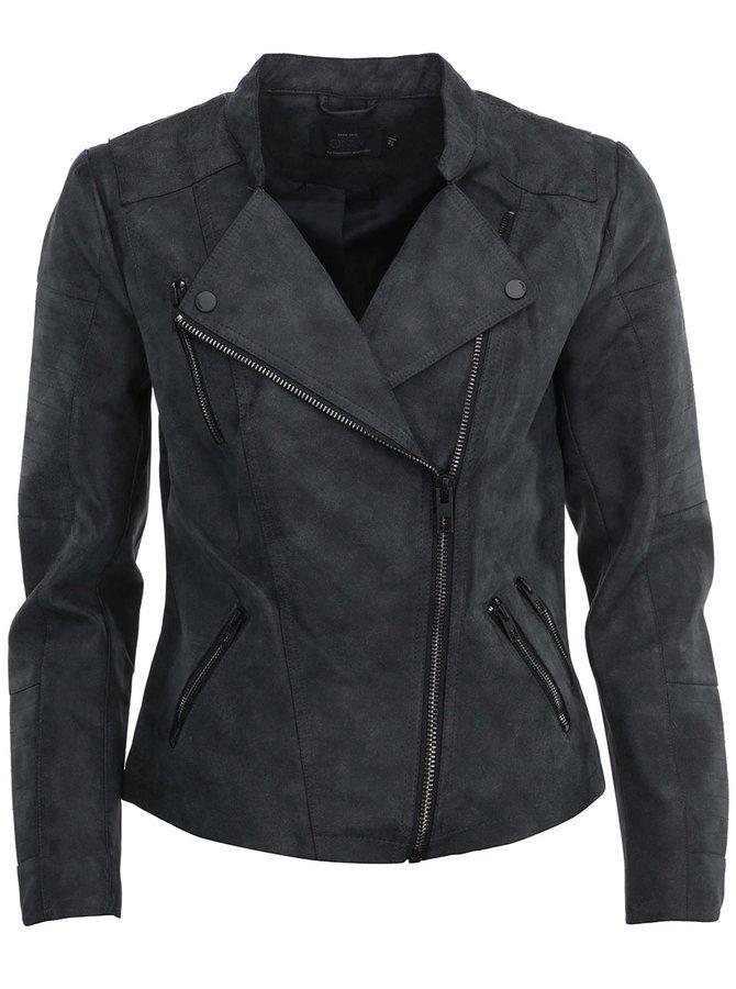 Tmavosivá koženková bunda s vreckami ONLY Biker