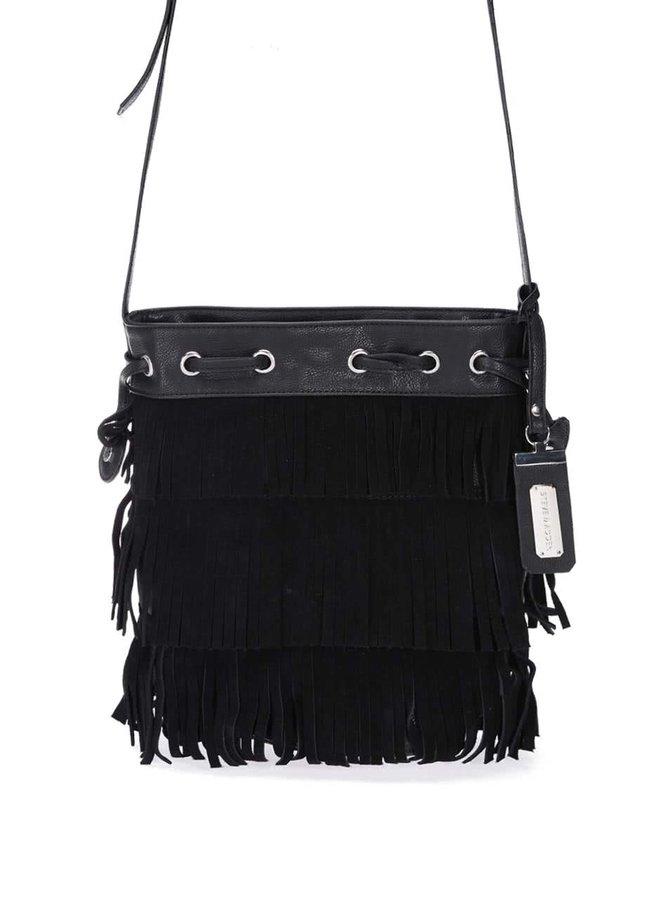 Černá crossbody kabelka s třásněmi v semišové úpravě Steve Madden Moxie