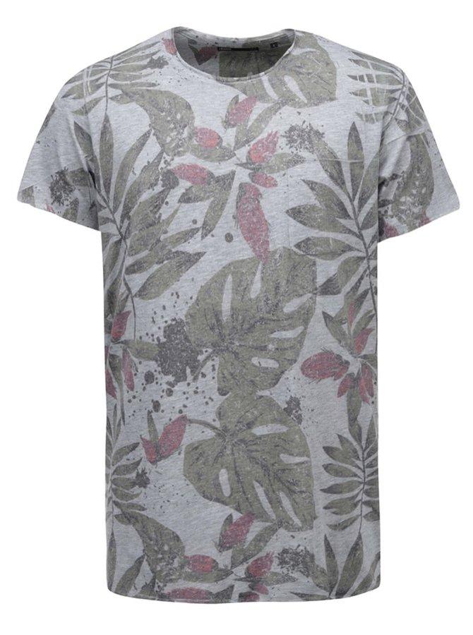 Sivé tričko s potlačou listov !Solid Rylee