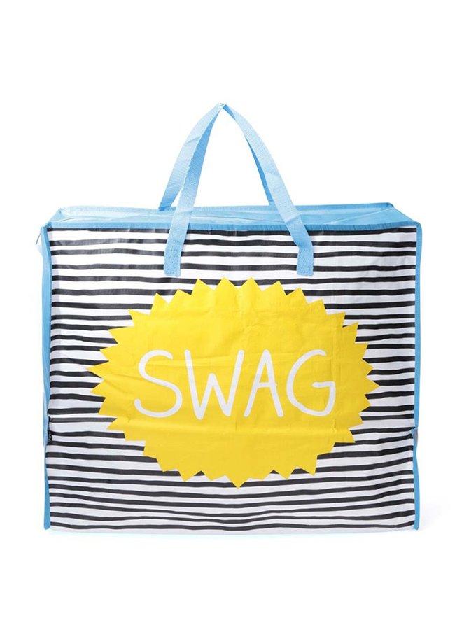 Modrá pruhovaná nákupná taška Happy Jackson Swag