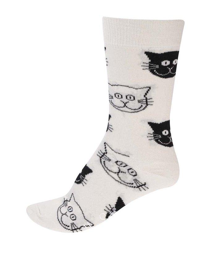 Krémové dámské ponožky s kočičími hlavami Happy Socks Cat