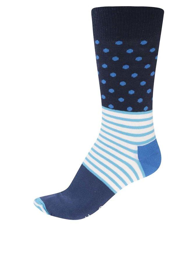 Șosete pentru bărbați cu model turcoaz și albastru Stripe Dot de la Happy Socks