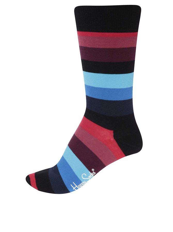 Červeno-čierno-modré unisex pásikavé ponožky Happy Socks Stripe