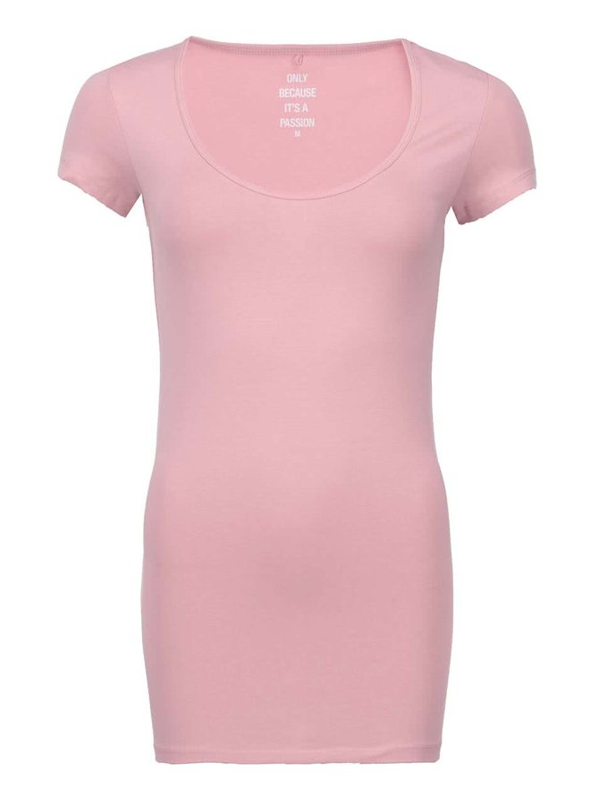 Světle růžové tričko s kulatým výstřihem ONLY Live Love
