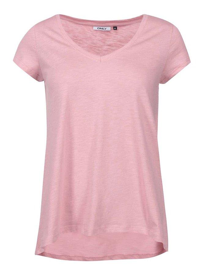 Světle růžové volnější tričko ONLY Gold