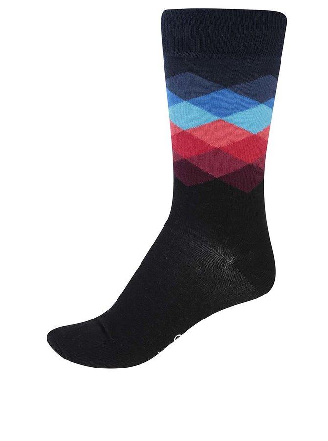 Čierne unisex vzorované ponožky Happy Socks Faded Diamond