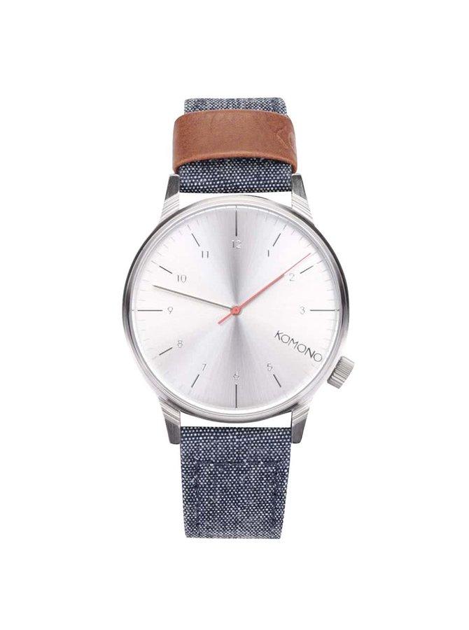 Mordré unisex hodinky s denimovým remienkom Komono Winston Heritage