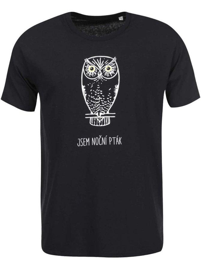 Čierne pánske tričko s fosforeskujúcou potlačou ZOOT Originál Nočný vták