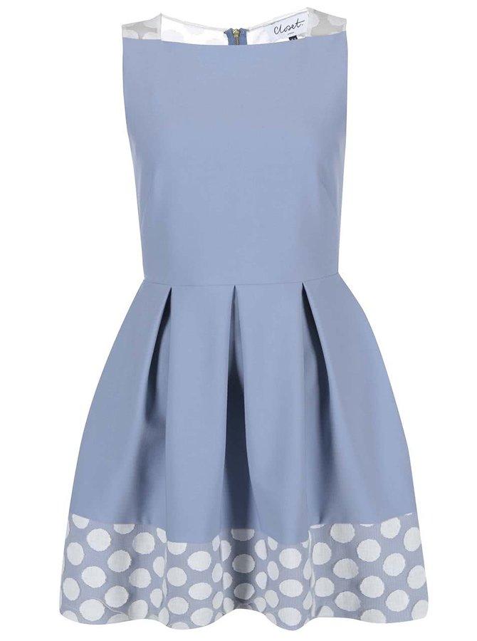 Rochie din dantelă cu buline Closet - Albastru deschis